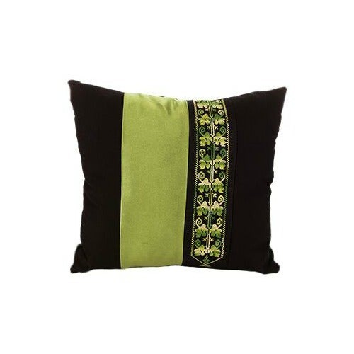 Traditional Bedouin Green Hand Embroidered Pillow For Sale - Image 3 of 3