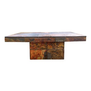 Organic Paul Kingma Style Brutalist Mosaic Slate Stone Coffee Table For Sale