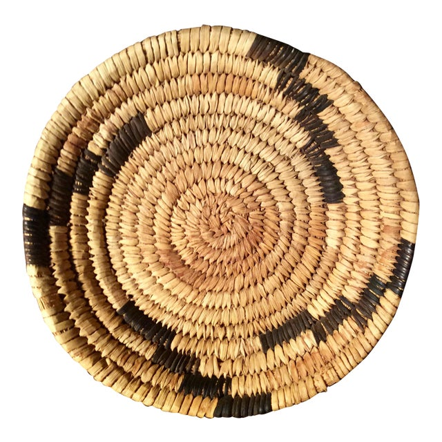 Mid Century Papago Native American Style Coil Basket For Sale