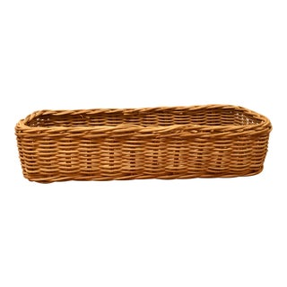 Vintage Long Boho Chic Woven Basket For Sale
