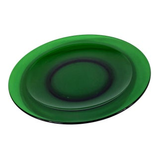 1950s Deep Green Glass Salad Plate For Sale