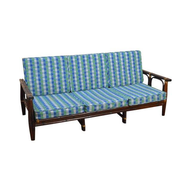 Ficks Reed Vintage Rattan Bamboo Frame Sofa (B) For Sale