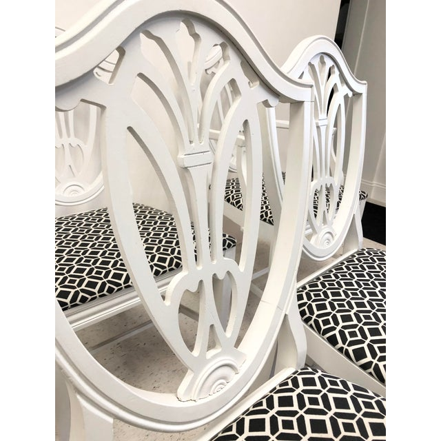 Paint Bernhardt Chippendale Style White Lacquered Dining Chairs - Set of 6 For Sale - Image 7 of 9
