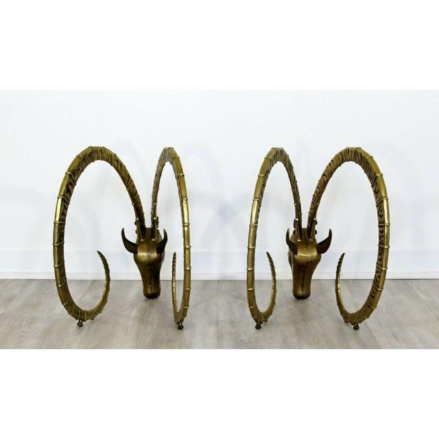 Mid Century Modern Hollywood Regency Pair Bronze Ibex Heads Chervet Attr 1970s For Sale - Image 10 of 10