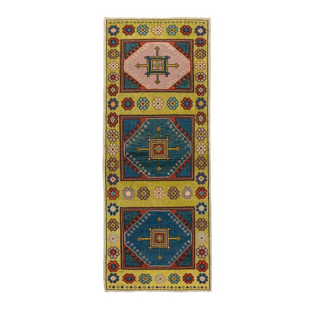 Contemporary Vintage Yellow Turkish Runner Rug 3'x7' For Sale - Image 3 of 5