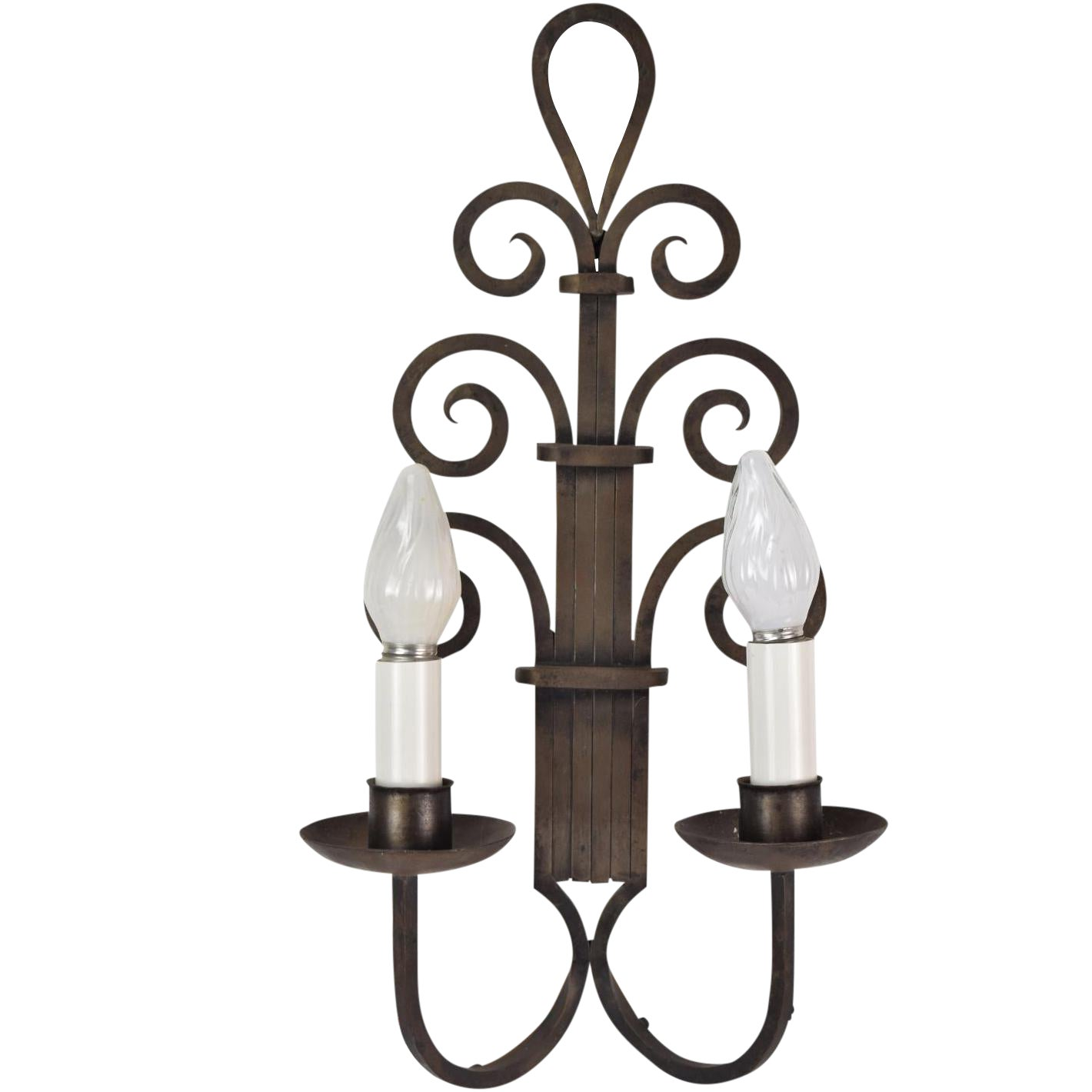 Large 1930s Art Deco Gothic Wrought Iron Scroll Wall Sconce Chairish