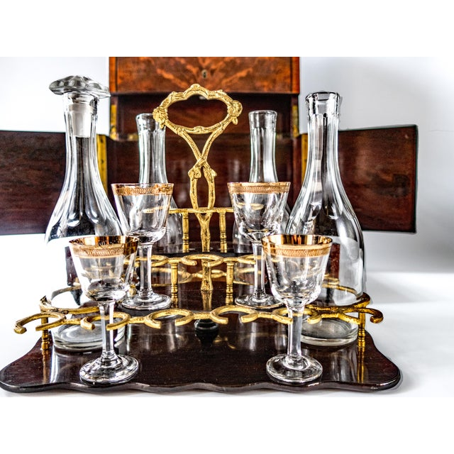 French Antique French Tantalus Burlwood Hidden Liquor Cabinet & Glasses - Set of 8 For Sale - Image 3 of 12