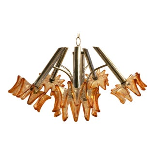 Mid-Century Chrome Chandelier W/ Amber Blown Glass Shades For Sale
