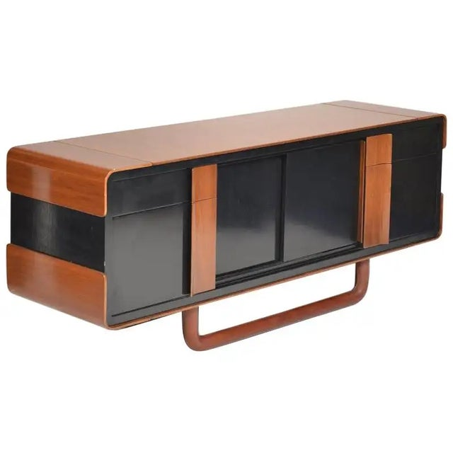 1980s Italian Modern Credenza With Leather Base For Sale - Image 9 of 9