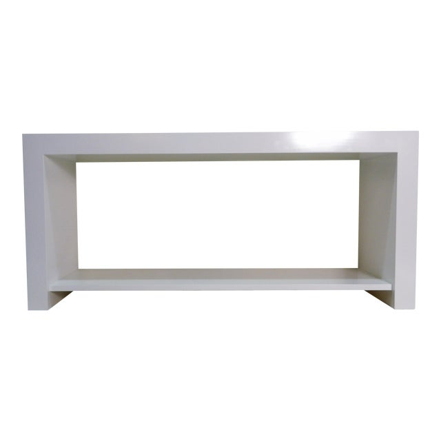 20th Century Modern White Console Table With Lower Shelf For Sale
