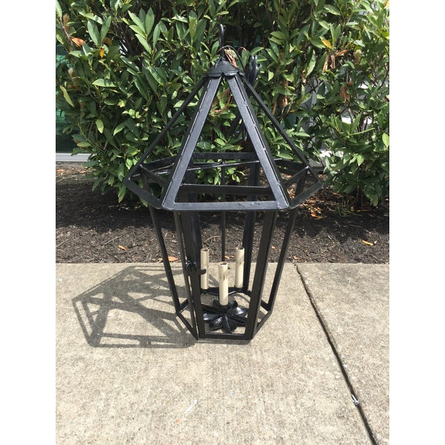 Great wrought iron lantern with octagonal top from France C.1930's. Beautiful piece, has been restored, freshly painted...