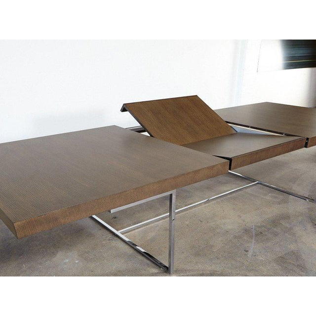 "2010s B&b Italia ""Athos"" Grey Oak & Chrome Extendable 8ft Dining Table For Sale - Image 5 of 10"