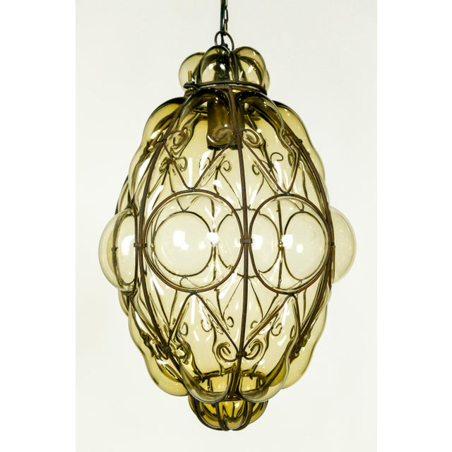 Italian Iron Wire & Blown Glass Pendant For Sale - Image 10 of 13