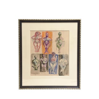 Signed Chamberlin Vintage One of Kind Nude/Abstract/ Figure Watercolor Custom Framed For Sale