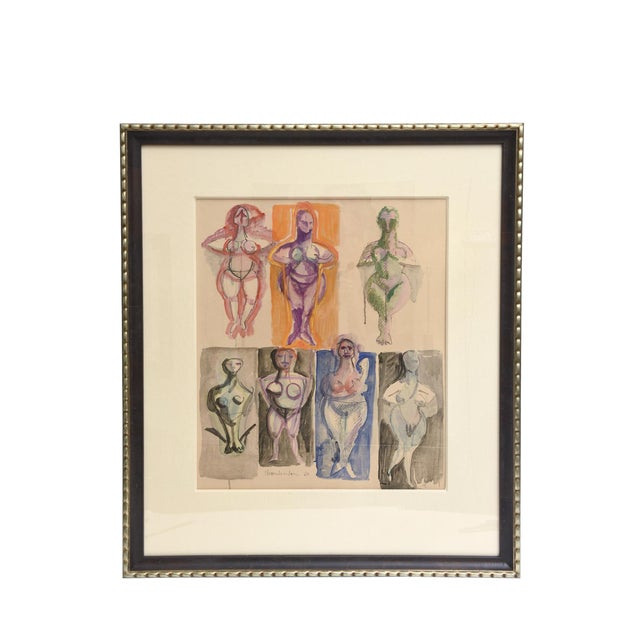 Signed Chamberlin Vintage One of Kind Nude/Abstract/ Figure Watercolor Custom Framed - Image 1 of 9