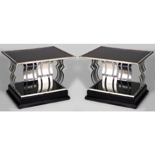 Art Deco French Art Deco Rectangular Silver And Black Painted Iron End Tables- A Pair For Sale - Image 3 of 3