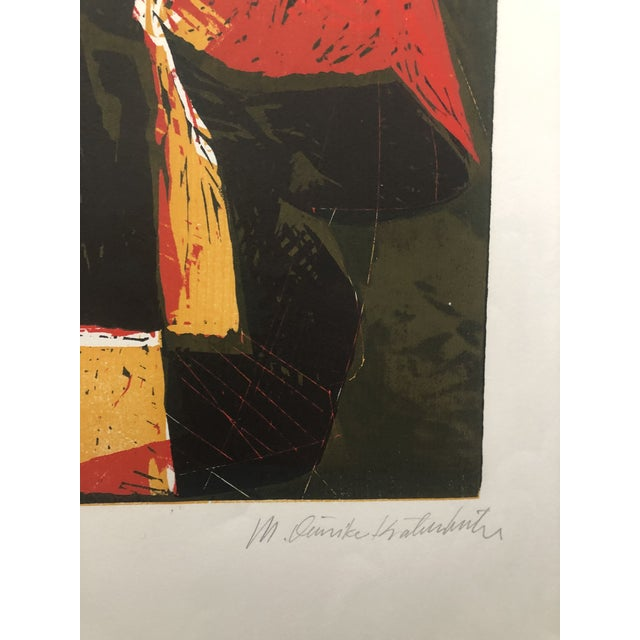 Mid-Century Modern Mid-Century Modern Rooster European Woodcut 1950s For Sale - Image 3 of 8