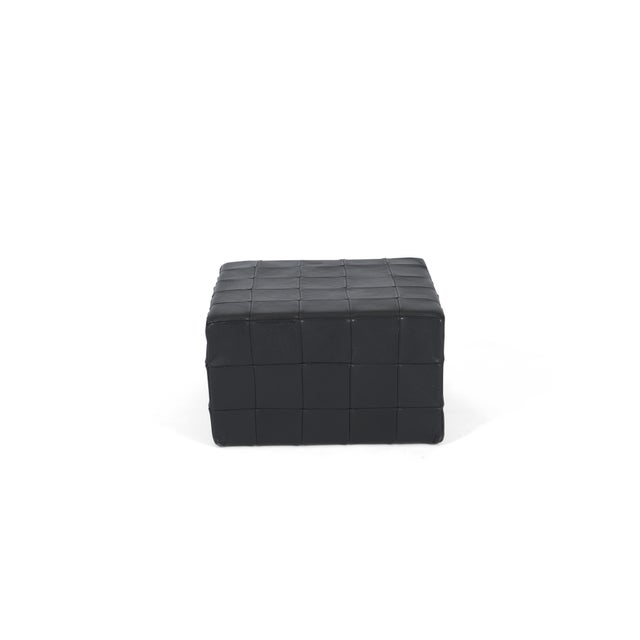 1960s De Sede Black Leather Patchwork Cube Ottoman For Sale - Image 5 of 6