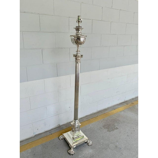 19th Century Magnificent Antique English Corinthian Column Silver Plated Floor Lamp For Sale - Image 5 of 11
