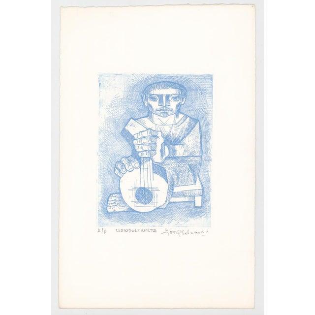 Figurative 1970s Jorge Dumas Mandolinista Etching For Sale - Image 3 of 4