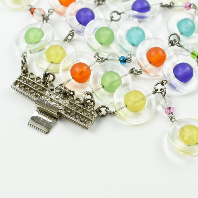 Blue Eric Beamon Multicolor Lucite Link Bracelet With Charms For Sale - Image 8 of 9