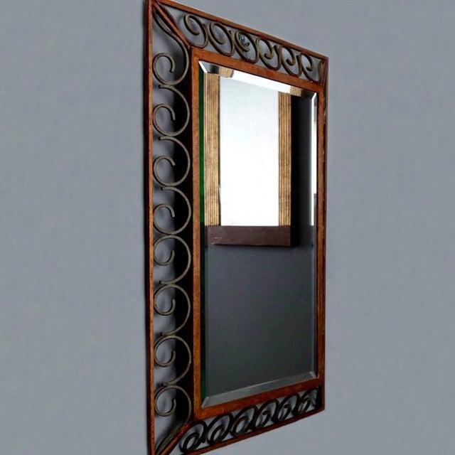 Art Deco Gilt Iron Scroll Framed Rectangular Mirror For Sale - Image 4 of 7