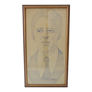 Framed Pen and Ink Drawing of a Man
