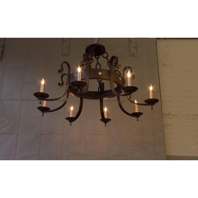 1940's Round Wrought Iron Chandelier with 8 Arms - Image 9 of 11