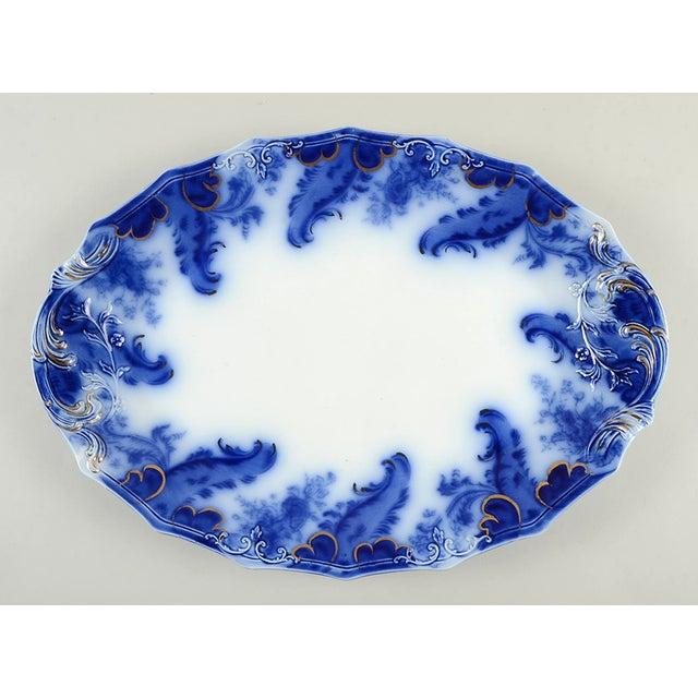 "Grindley Argyle (Flow Blue) 19"" Oval Serving Platter For Sale In Greensboro - Image 6 of 6"