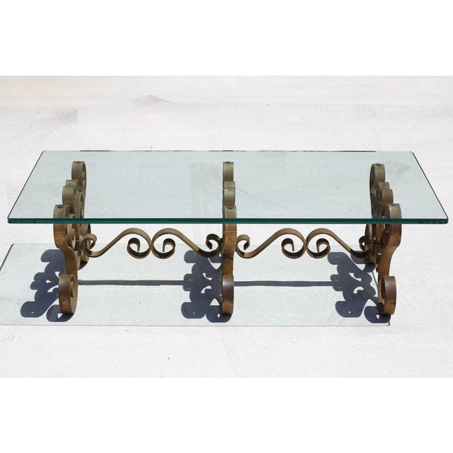 Boho Chic Vintage Iron Scroll Cocktail Table With Thick Glass Top For Sale - Image 3 of 9
