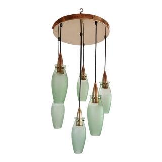 Brass & Glass Italian Mid Century Modern Flush Mount, Arredoluce Style For Sale