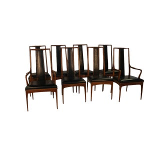 Eight Mid Century Walnut Dining Chairs by John Stuart For Sale