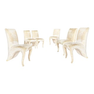 1980s Art Nouveau Dialogica Cream Splash Dining Chairs - Set of 6