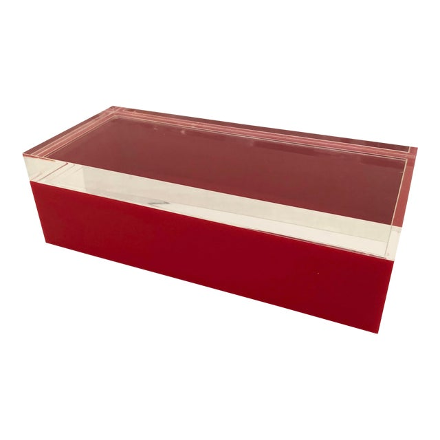 Alessandro Albrizzi Mid-Century Red & Clear Lucite Box For Sale
