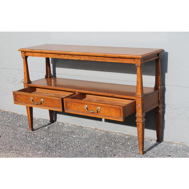 1960s Traditional Walnut 2 Drawer Hall Console Table For Sale In Miami - Image 6 of 13