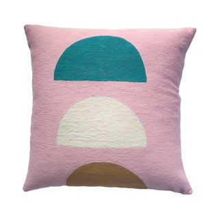 Viola Pink Hand Embroidered Modern Geometric Throw Pillow For Sale