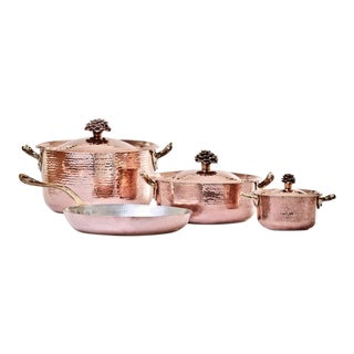Amoretti Brothers Handmade Copper Cookware Set with Flower Lid - 7 Pieces For Sale
