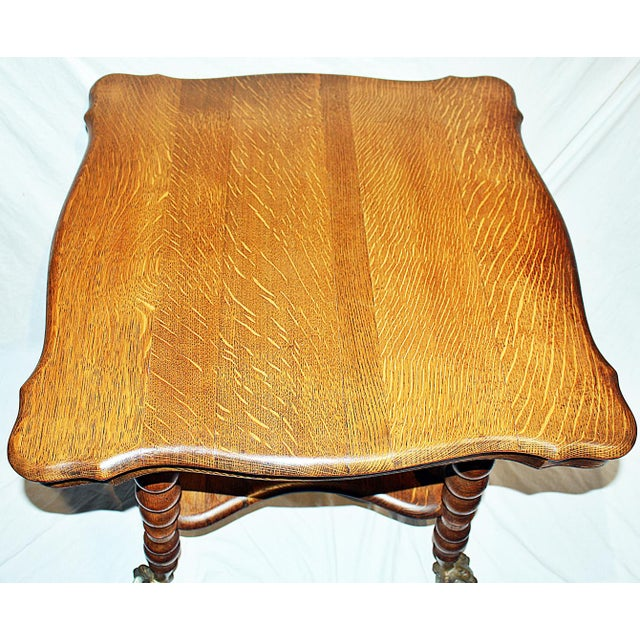 Brass 19th Century Americana Tiger Oak Claw-Foot Side Table For Sale - Image 7 of 13