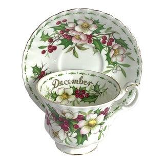 Royal Albert December Christmas Rose Bone China Teacup & Saucer Set- 2 Pieces For Sale