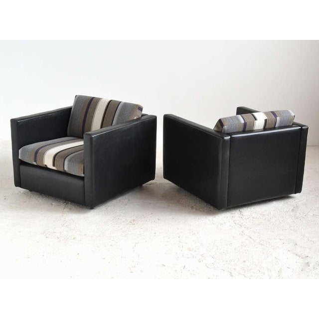 Pair of Pfister Lounge Chairs by Knoll in Leather and Fabric - Image 7 of 8