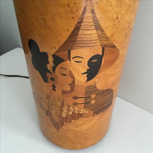 Andrew Szoeke Mid-Century Art Deco Inlaid Lamp - Image 9 of 11
