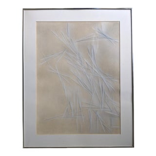 1980s Monochrome Abstract Pastel Drawing For Sale