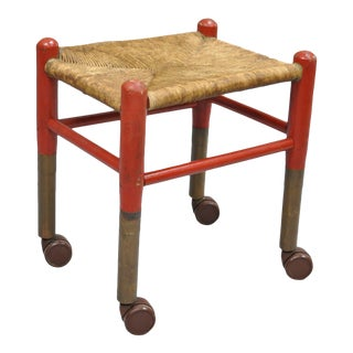Early 20th Century Rustic Red Painted Woven Rush Seat Bench Stool