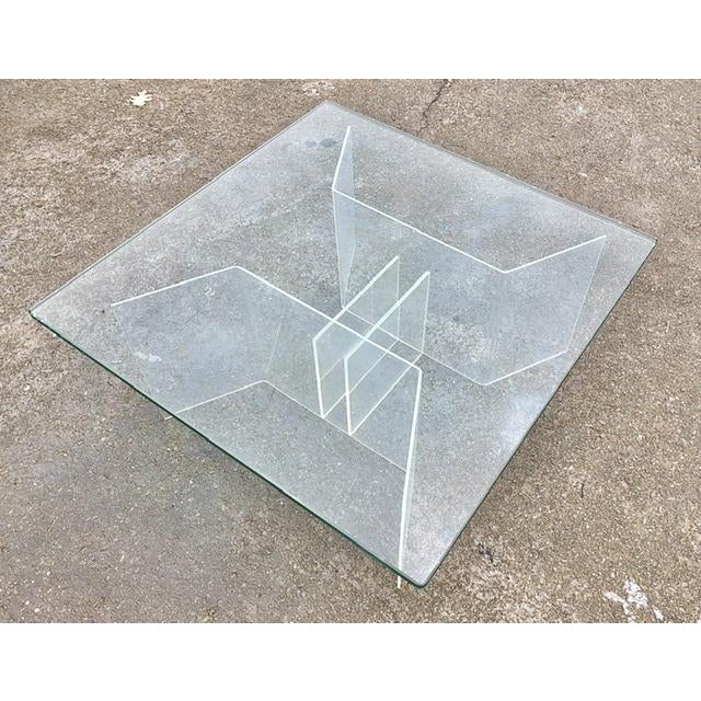 Mid-Century Modern Coffee Table With Lucite Geometric Base and Square Glass Top For Sale In Washington DC - Image 6 of 8