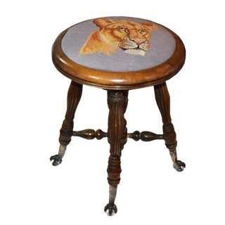 Victorian Embroidered Needlepoint Tiger Lion Crystal Clawfoot Adjustable Piano Stool For Sale