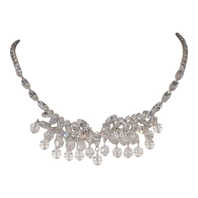 This pretty 1950s vintage necklace features clear extra sparkly marquis (or navette) rhinestones in a rhodium plated...