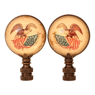 Eagle & Old Glory Lamp Finials - a Pair For Sale