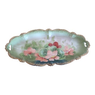 Antique Tirschenreuth Bavarian Porcelain Hand Painted Floral Dish For Sale