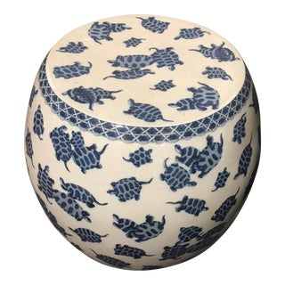 Blue & White Crackle Finish Garden Stool For Sale