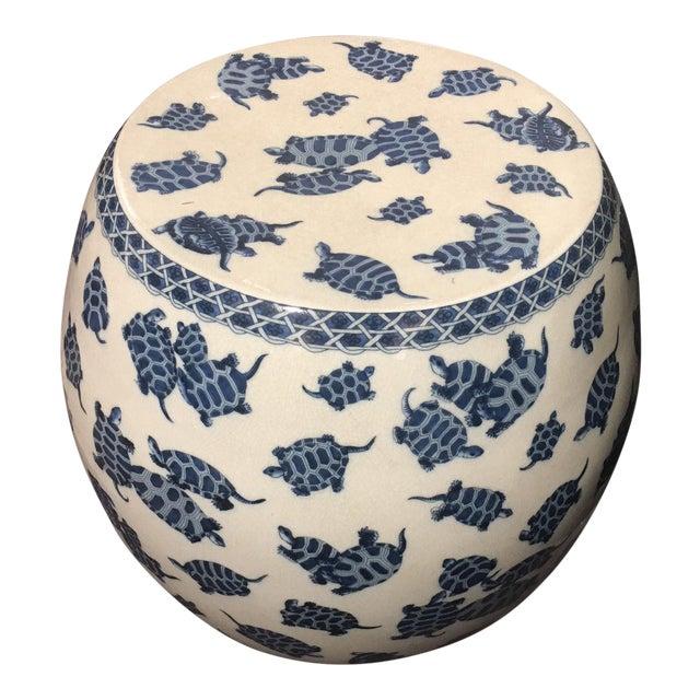 Blue & White Crackle Finish Garden Stool For Sale
